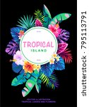 tropical poster with palm... | Shutterstock .eps vector #795113791