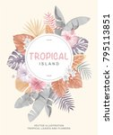 tropical poster with palm... | Shutterstock .eps vector #795113851