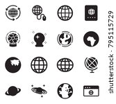 solid black vector icon set  ... | Shutterstock .eps vector #795115729