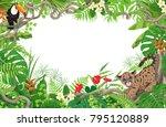 horizontal tropical floral... | Shutterstock .eps vector #795120889