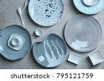 ceramic tableware on grey... | Shutterstock . vector #795121759