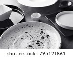 ceramic tableware on grey... | Shutterstock . vector #795121861