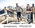 couple running in los angeles... | Shutterstock . vector #795123115