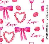 marker valentine seamless roses ...   Shutterstock . vector #795123211