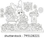 little bunny decorating a fancy ... | Shutterstock .eps vector #795128221
