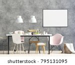 mock up poster in interior with ... | Shutterstock . vector #795131095