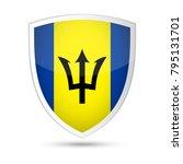 barbados flag vector shield... | Shutterstock .eps vector #795131701