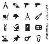 solid black vector icon set  ... | Shutterstock .eps vector #795139345