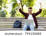 happy successful man with arms... | Shutterstock . vector #795150085