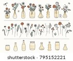 set of hand drawn flowers and... | Shutterstock .eps vector #795152221