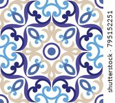 ornament on italian tiles ... | Shutterstock .eps vector #795152251