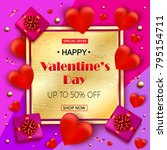valentines day sale elegant... | Shutterstock . vector #795154711