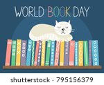 world book day. different color ... | Shutterstock .eps vector #795156379