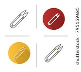 sewing clippers icon. flat... | Shutterstock .eps vector #795159685