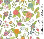 vector flower pattern. seamless ... | Shutterstock .eps vector #795160195