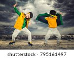 two brothers dancing break... | Shutterstock . vector #795161497