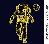 bright neon astronaut t shirt...   Shutterstock .eps vector #795162385