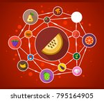 vegetables and fruits flat icon ...   Shutterstock .eps vector #795164905