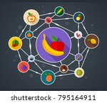 vegetables and fruits flat icon ...   Shutterstock .eps vector #795164911