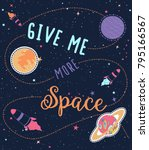 give me more space slogan and... | Shutterstock .eps vector #795166567