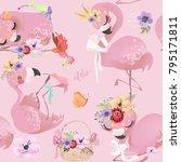 flamingo  bird  pink ... | Shutterstock .eps vector #795171811