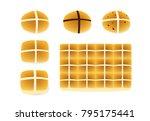 set of hot cross buns on white  ... | Shutterstock .eps vector #795175441