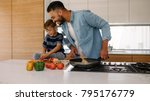 smiling father looking at...   Shutterstock . vector #795176779