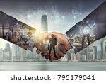 double exposure of shaking... | Shutterstock . vector #795179041