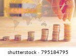 handles coins placed on a pile... | Shutterstock . vector #795184795