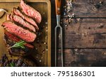 sliced grilled marbled meat... | Shutterstock . vector #795186301