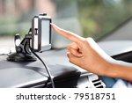finger pointing at car gps... | Shutterstock . vector #79518751