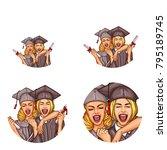 set of vector pop art round... | Shutterstock .eps vector #795189745