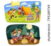 kids summer camping vector... | Shutterstock .eps vector #795189769