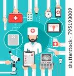 gynecologist medical flat... | Shutterstock .eps vector #795193009