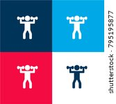 man lifting weights four color...