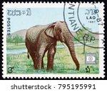 laos   circa 1987  a stamp...   Shutterstock . vector #795195991