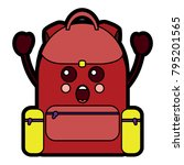 school backpack kawaii cartoon... | Shutterstock .eps vector #795201565