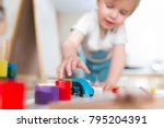 two years child boy play with... | Shutterstock . vector #795204391