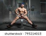 brutal strong athletic men... | Shutterstock . vector #795214015