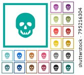 human skull flat color icons... | Shutterstock .eps vector #795216304