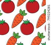 tomato carrot vegetable pattern ...   Shutterstock .eps vector #795224281