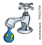 Leaking faucet the earth planet shaped drop - stock vector