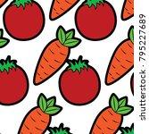 tomato and carrot vegetables...   Shutterstock .eps vector #795227689