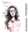 Beautiful young woman in eyeglasses. Fashion woman. Stylish girl with long hair. Sketch. | Shutterstock vector #795228409