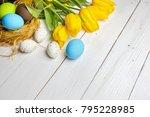 colorful easter eggs in the... | Shutterstock . vector #795228985