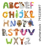 Stock vector zoo alphabet animal alphabet letters from a to z cartoon cute animals isolated on white 795235897