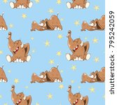 vector background with cute... | Shutterstock .eps vector #795242059
