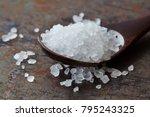 sea salt condiment macro view.... | Shutterstock . vector #795243325