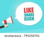 male hand holding megaphone... | Shutterstock .eps vector #795250741