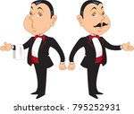 two professional maitre d's in... | Shutterstock .eps vector #795252931